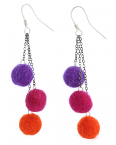 Felt Balls Hook Earrings