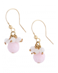Pink Jade Hook Earrings